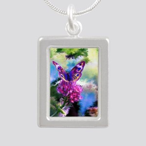 Colorful Abstract Butter Silver Portrait Necklace