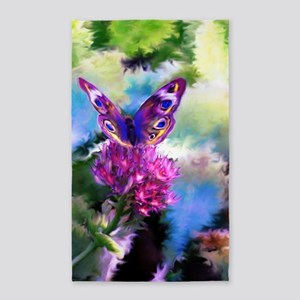 Colorful Abstract Butterfly 3'x5' Area Rug