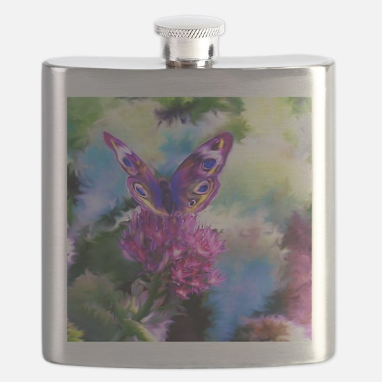 Colorful Abstract Butterfly Flask