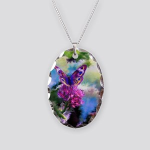 Colorful Abstract Butterfly Necklace Oval Charm