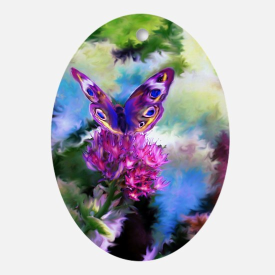 Colorful Abstract Butterfly Oval Ornament