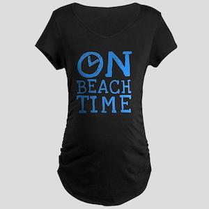 On Beach Time Maternity Dark T-Shirt