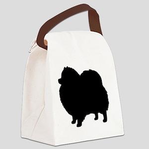 Black Pomeranian Dog Silhouette Canvas Lunch Bag