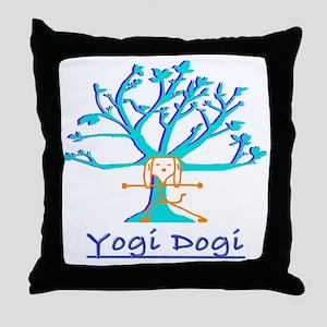 Yoga Yogie Dogie Throw Pillow