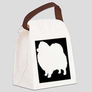 White Pomeranian Silhouette Canvas Lunch Bag