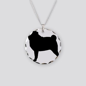 Pug Silhouette Necklace Circle Charm