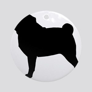 Pug Silhouette Round Ornament