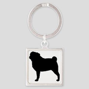 Pug Silhouette Square Keychain