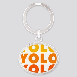 You Only Live Once Yolo Sunset Oval Keychain