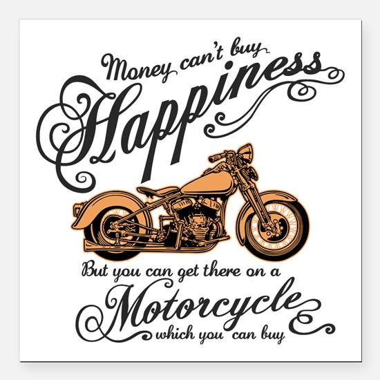 "Happiness - Motorcycle Square Car Magnet 3"" x 3"""