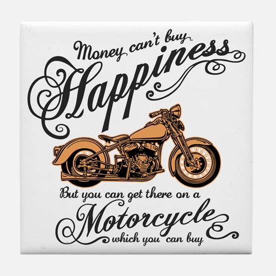 Happiness - Motorcycle Tile Coaster