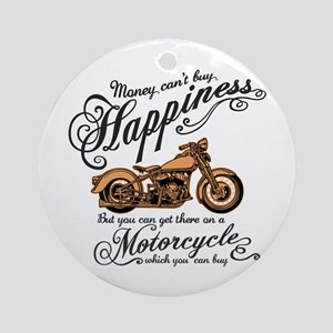 Happiness - Motorcycle Round Ornament