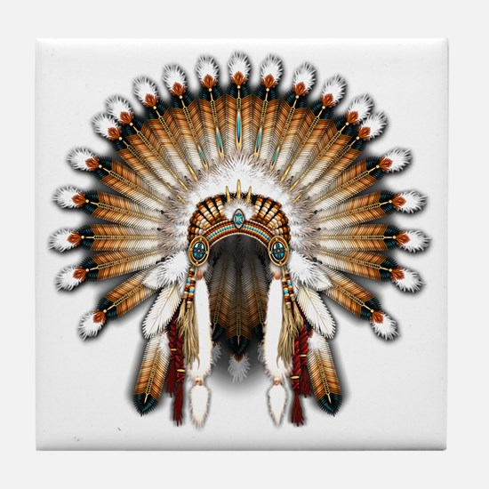 Native War Bonnet 01 Tile Coaster