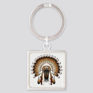 Native War Bonnet 01 Square Keychain