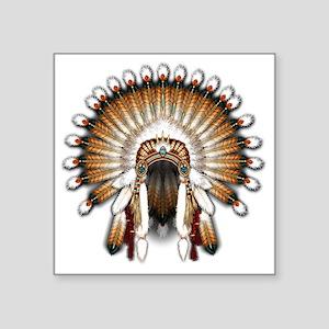 "Native War Bonnet 01 Square Sticker 3"" x 3"""