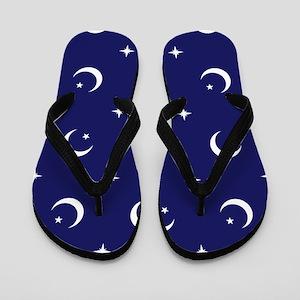 Celestial geometric design crescent moo Flip Flops