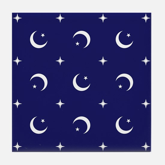 Celestial geometric design crescent m Tile Coaster