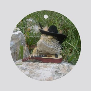 Musician Spiny the Lizard Round Ornament