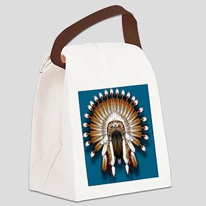 Native War Bonnet 01 - blue back Canvas Lunch Bag