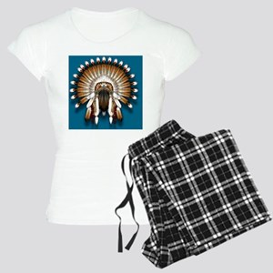 Native War Bonnet 01 - blue Women's Light Pajamas