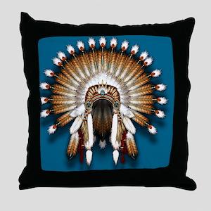 Native War Bonnet 01 - blue back Throw Pillow