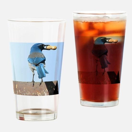 Cute Bluebird with Peanut Drinking Glass