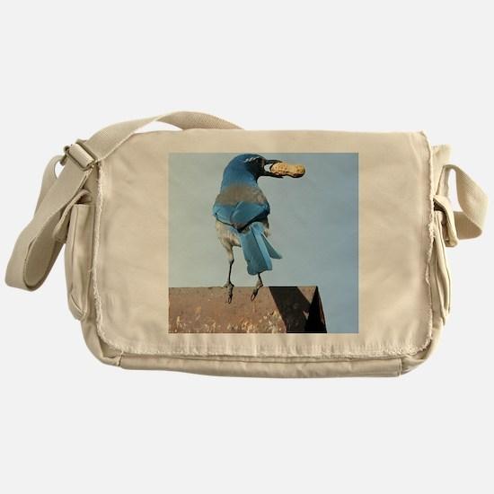 Cute Bluebird with Peanut Messenger Bag