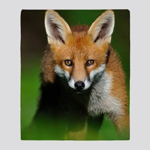 Young red fox Throw Blanket