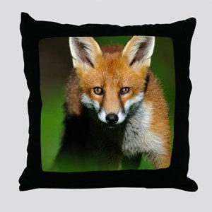 Young red fox Throw Pillow