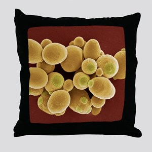 Yeast cells, SEM Throw Pillow