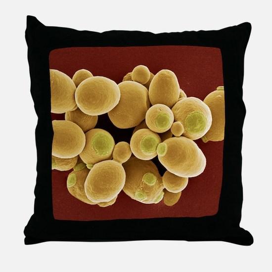 Yeast cells, SEM Throw Pillow