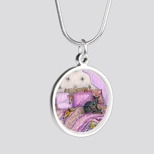 Sighthounds slumber party Silver Round Necklace
