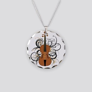 Violin Swirls Necklace Circle Charm