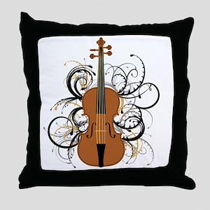 Violin Swirls Throw Pillow