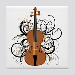 Violin Swirls Tile Coaster