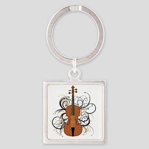 Violin Swirls Square Keychain