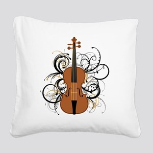 Violin Swirls Square Canvas Pillow