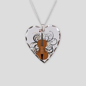 Violin Swirls Necklace Heart Charm