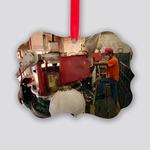 Worker at tea factory Picture Ornament
