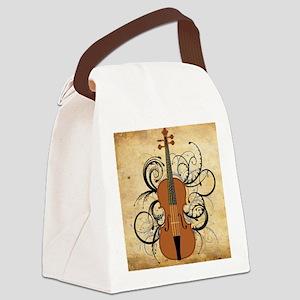 Violin Swirls Canvas Lunch Bag