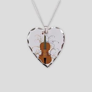 Violin Swirls (for dark colou Necklace Heart Charm