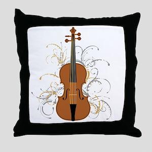 Violin Swirls (for dark colours) Throw Pillow
