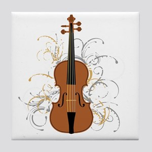 Violin Swirls (for dark colours) Tile Coaster