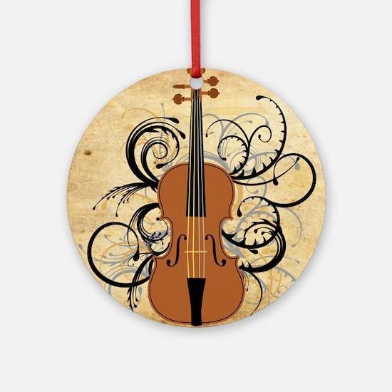 Violin Swirls Round Ornament