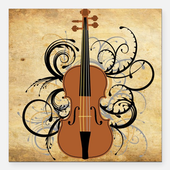 "Violin Swirls Square Car Magnet 3"" x 3"""