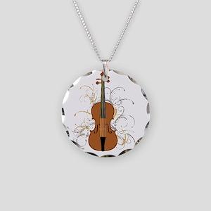 Violin Swirls (for dark colo Necklace Circle Charm