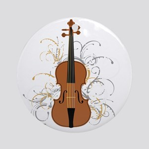 Violin Swirls (for dark colours) Round Ornament