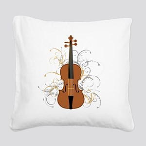 Violin Swirls (for dark colou Square Canvas Pillow