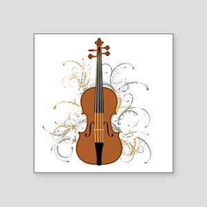 "Violin Swirls (for dark col Square Sticker 3"" x 3"""