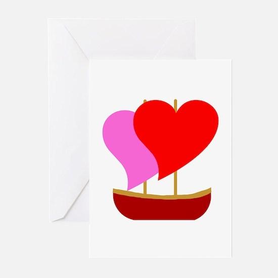 Sail Boat Love Greeting Cards (Pk of 10)
